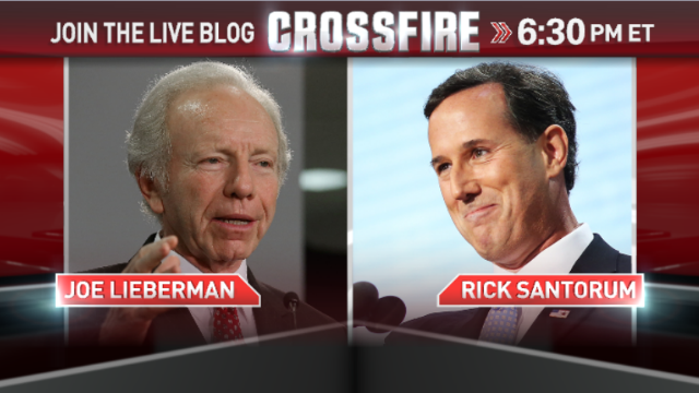 Live blog: Lieberman and Santorum in the Crossfire