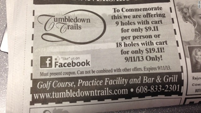 A newspaper advertisement for the TumbleDown Trails Golf Course offered nine holes of golf for $9.11 on September 11.
