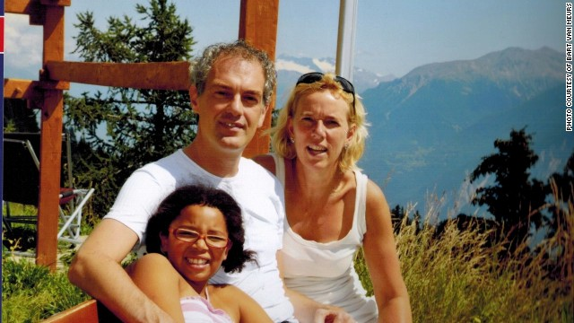 Elisa van Meurs with her adoptive parents Bart and Heleene van Meurs on vacation in Switzerland.