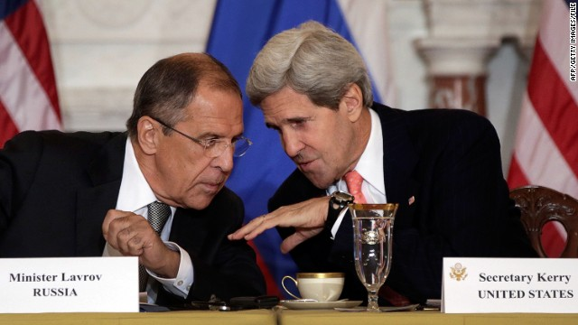 Russian Foreign Minister Sergey Lavrov, left, talks with Secretary of State John Kerry in August at the State Department.
