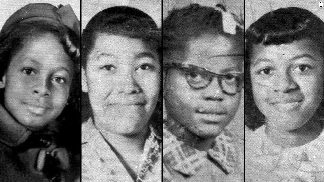 From left, 11-year-old Denise McNair and 14-year-olds Carole Robertson, Addie Mae Collins and Cynthia Wesley were killed while attending Sunday services. Three Ku Klux Klan members were later convicted of murder.