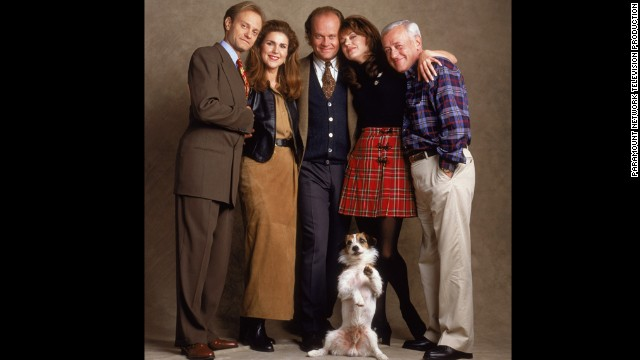 "Before there was ""Frasier,"" the character of Frasier Crane was a regular on ""Cheers."" Kelsey Grammer, center, played the title role. David Hyde Pierce, from left, Peri Gilpin, Jane Leeves and John Mahoney also starred."