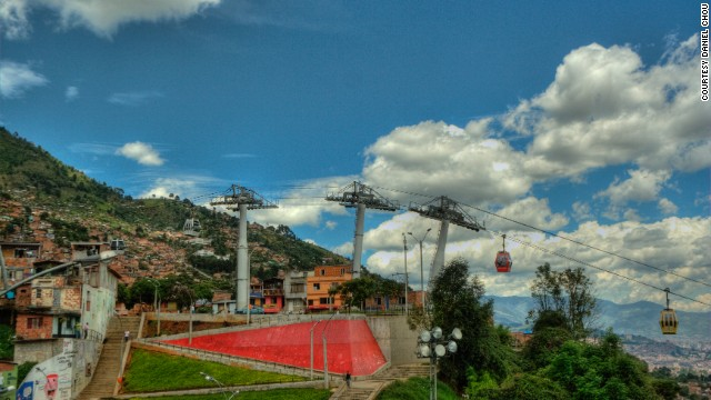 The Medellin Metrocable is widely considered to have increased mobility for some if its poorest citizens and was cited as a major reason behind the awarding of the 'Most Innovative City' title from the Urban Land Institute in early 2013. (Picture courtesy of <a href='http://www.flickr.com/photos/the_chous/' target='_blank'>Daniel Chou</a>)