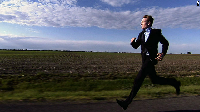 "When Conan shifted from ""Late Night"" to ""The Tonight Show"" in 2009, he again fashioned a classically funny transitional open: He ""forgot"" to move across the country to Los Angeles, so his first moments at 11:35 showed him running for his life across the country."
