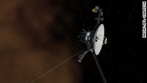 This illustration shows NASA\'s Voyager 1 spacecraft entering the space between stars.