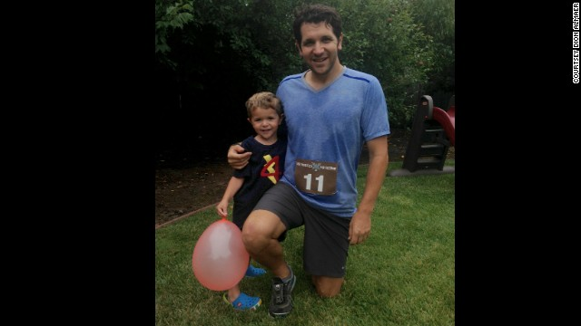 Running used to seem boring to Almaer; now he enjoys it. Committing to running every single day for a month helped him form a habit of exercise. Here he is with his son Josh.
