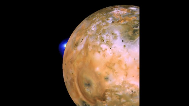 "Another image of ""Io"" shows an active plume of a volcano dubbed ""Loki."""
