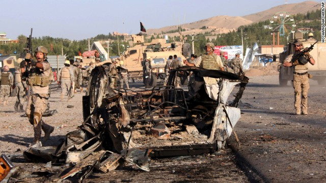 U.S. troops led the investigation of the site of a suicide car bombing and a gunfight near the U.S. consulate in Herat, Afghanistan, on Friday, September 13. Taliban militants attacked the consulate using a car bomb and guns to battle security forces just outside the compound. An intercepted al Qaeda message led to the closing of 22 embassies and consulates across the Middle East and North Africa on August 4. Take a look at other attacks on U.S. diplomatic sites in recent years.