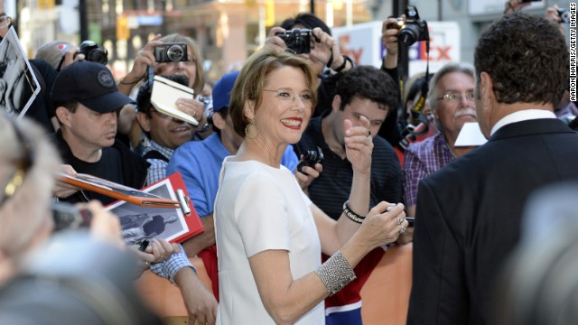"""Actress Annette Bening signs autographs at the premiere of her film """"The Face of Love"""" on September 12."""