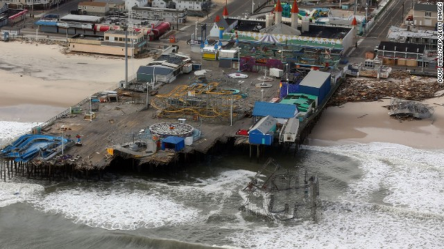 A helicopter view of storm damage over the Atlantic Coast as President Obama and New Jersey Gov. Chris Christie view the damage in Seaside Heights on October 31, 2012. Casino Pier suffered significant damage during Superstorm Sandy, losing more than 200 feet of its northernmost section. Several rides were lost to the Atlantic Ocean.