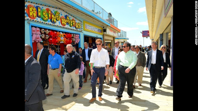 Prince Harry and Gov. Chris Christie viewed damage to homes and the pier during a tour of the area.