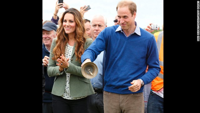 The duke and duchess start the Ring O'Fire Anglesey Costal Ultra Marathon In Holyhead, Wales, on August 30, 2013. It was Kate's first public appearance since the birth of Prince George.