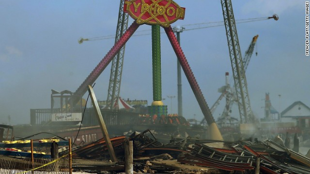 A amusement ride still stands above the destroyed remains on September 13.