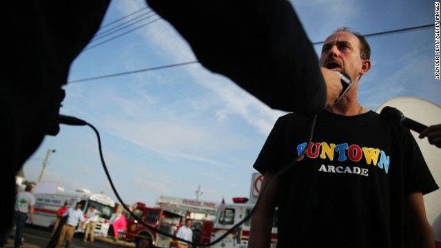 Daniel Shauger, manager of the heavily damaged Funtown Arcade, is interviewed on September 13. The arcade was reopened in June after Superstorm Sandy damaged the game machines and equipment.