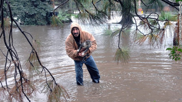 Johnny C. Montoya helps rescue a cat from an area flooded by the Gallinas River in Las Vegas, New Mexico.