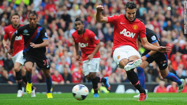 The trusty left boot of Robin van Persie puts Manchester United ahead against Crystal Palace on Saturday.