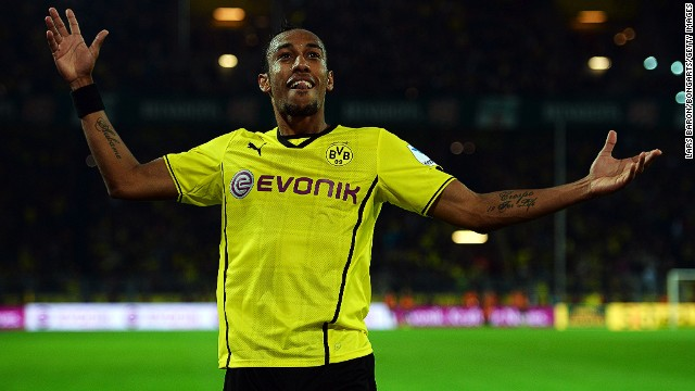 Borussia Dortmund's Pierre Aubameyang celebrates after scoring the third goal against Hamburg at the Signal Iduna Park.