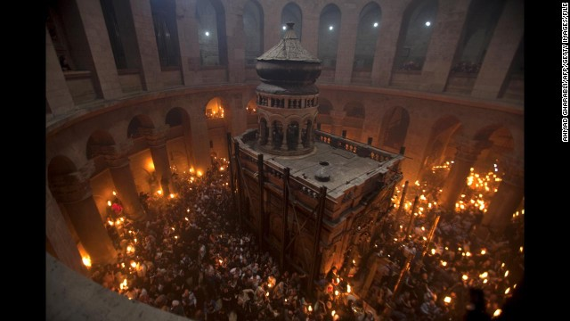 Worshippers gather in the rotunda of the Church of the Holy Sepulchre on the eve of Easter Sunday in April 2011.