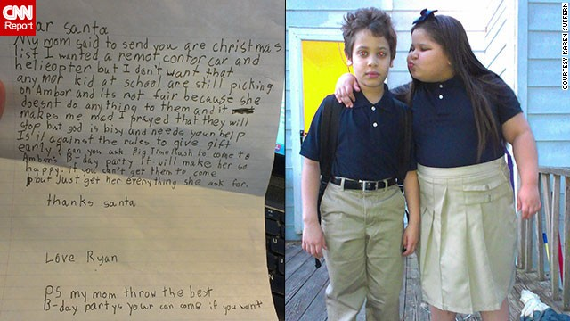 Ryan wrote to Santa, asking for help to stop the bullying his sister, Amber, is facing at school.