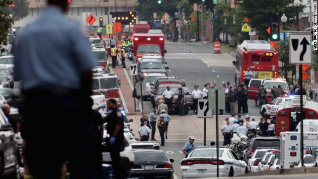 Emergency vehicles fill the streets around the Washington Navy Yard.