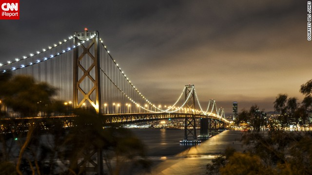 The San Francisco fog lifted long enough for Gej Jones to capture the <a href='http://ireport.cnn.com/docs/DOC-943446'>Bay Bridge</a> from Treasure Island on a summer night.