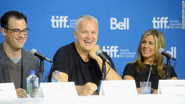 """Writer/director Daniel Schechter, left, actor Tim Robbins and actress/producer Jennifer Aniston speak at the """"Life of Crime"""" news conference on September 14."""