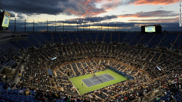 A night view of the main stadium court at Flushing Meadows which is named in honor of Arthur Ashe.