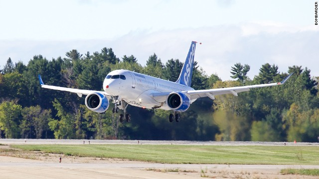 The Bombardier CS100 had its first test flight Monday, at Mirabel Airport, in Quebec.