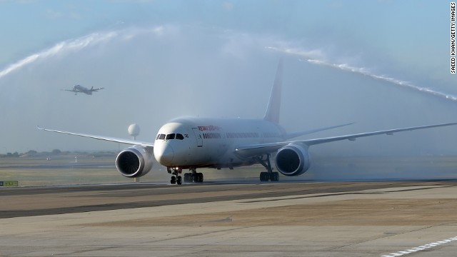 Air India's 787-8 Dreamliner got a water cannon salute as Australia's first Dreamliner passenger flight landed in Sydney on August 30.