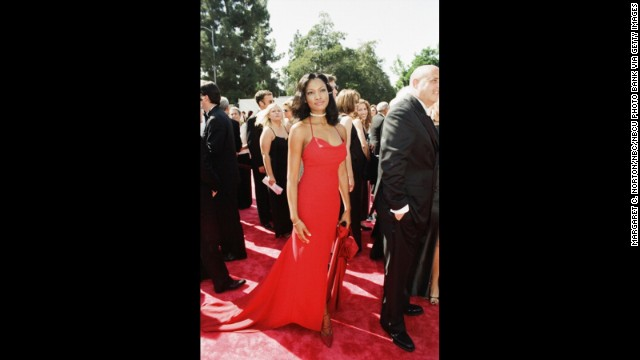 Actress Garcelle Beauvais wore red on the carpet at the 1998 Emmys, but she certainly didn't blend in with this stunner.