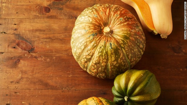 <strong>Squash:</strong> Unlike summer squash, winter squash has a fine texture and a slightly sweet flavor. Because of its thick skin, it can be stored for months. It tastes best with other fall flavorings, like cinnamon and ginger. <!-- --> </br><!-- --> </br>Health benefits include: <!-- --> </br>• Contains omega-3 fatty acids <!-- --> </br>• Excellent source of vitamin A <!-- --> </br><!-- --> </br> Harvest season: October to February<!-- --> </br><!-- --> </br><a href='http://www.health.com/health/gallery/0,,20454528,00.html' target='_blank'>Health.com: 25 ways to cut 500 calories a day</a>