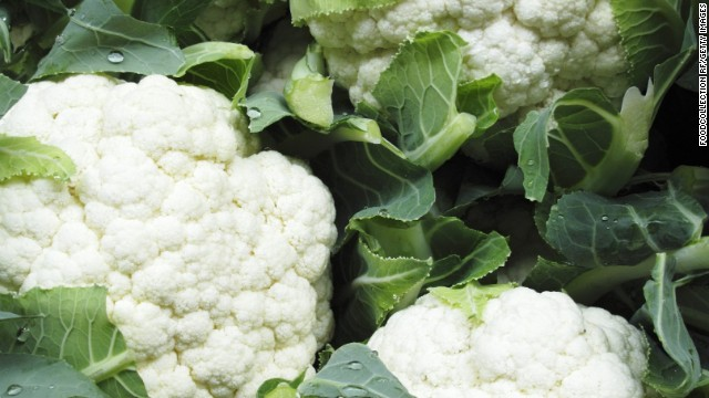 <strong>Cauliflower:</strong> The sweet, slightly nutty flavor of cauliflower is perfect for winter side dishes. It's wonderful steamed, but it can also be blended to create a mashed potato-like texture or pureed into soup. <!-- --> </br><!-- --> </br>Health benefits include<!-- --> </br>• Compounds that may help to prevent cancer <!-- --> </br>• Phytonutrients may lower cholesterol<!-- --> </br>• Excellent source of vitamin C <!-- --> </br><!-- --> </br> Harvest season: September to June
