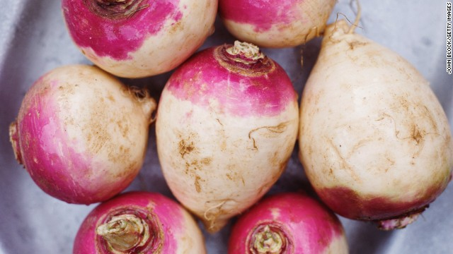 <strong>Rutabaga:</strong> A cross between a turnip and a cabbage, rutabagas are a popular Swedish dish. To utilize their earthy flavor, add them to casseroles, puree them with turnips and carrots to make a sweet soup or roast them with ginger, honey or lemon. <!-- --> </br> Health benefits include • Good source of fiber • Good source of vitamin C Harvest season: October to April