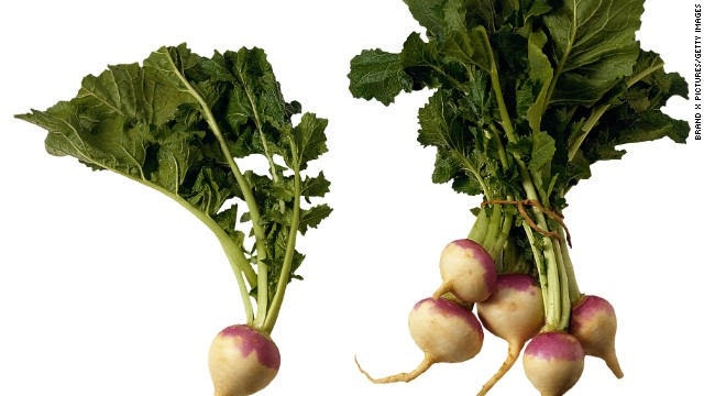 <strong>Turnips:</strong> Tender and mild, these root vegetables are a great alternative to radishes and cabbage. To flavor these veggies, use fennel, bread crumbs or even brown sugar. Turnip leaves, which taste like mustard leaves, are easy to cook and dense in nutrients. <!-- --> </br><!-- --> </br>Health benefits include<!-- --> </br>• The roots are a good source of vitamin C <!-- --> </br>• Turnip leaves are an excellent source of vitamins A, K and folate <!-- --> </br><!-- --> </br> Harvest season: September to April