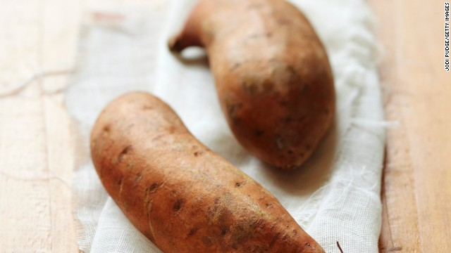<strong>Sweet potatoes:</strong> These veggies are for much more than Thanksgiving casseroles. They're more nutritionally dense than their white-potato counterparts. Try roasting them; they'll taste delicious, and you may maintain more vitamins than boiling. <!-- --> </br><!-- --> </br>Health benefits include<!-- --> </br>• Excellent source of vitamin A <!-- --> </br>• Good source of iron <!-- --> </br>• Anti-inflammatory benefits <!-- --> </br><!-- --> </br> Harvest season: September to December<!-- --> </br><!-- --> </br><a href='http://www.health.com/health/gallery/0,,20307221,00.html' target='_blank'>Health.com: Eat this and burn more fat</a><!-- --> </br>