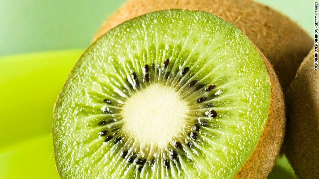 <strong>Kiwi: </strong>Use this sweet fruit to add a tropical flavor to your recipes. It's great mixed with strawberries, cantaloupe, or oranges and can be combined with pineapple to make a tangy chutney. <!-- --> </br><!-- --> </br>Health benefits include: • More vitamin C than an orange • Good source of potassium and copper <!-- --> </br>Harvest season: September to March<!-- --> </br><!-- --> </br><a href='http://www.health.com/health/gallery/0,,20447867,00.html' target='_blank'>Health.com: Satisfying snacks for every craving</a>