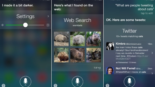 "The Siri voice-activated ""digital assistant"" feature has been updated. Siri can now adjust iPhone settings, do Bing searches and look through Twitter. It also is now available with a male voice in the U.S."