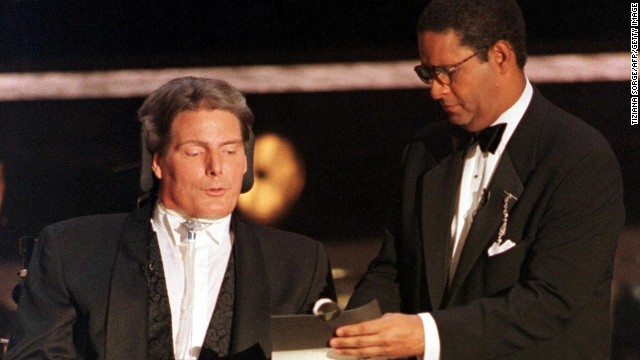 Bryant Gumbel, right, hosted the 49th annual Emmy Awards in 1997, and has overwhelmingly been panned as one of the worst. Seen here helping the late actor Christopher Reeve read the winner for outstanding supporting actor for a miniseries or special, this was about as exciting as Gumbel's hosting duties got.