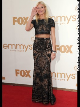 Gwyneth Paltrow showed just a hint of skin with her two-piece look at the 2011 Emmy Awards.