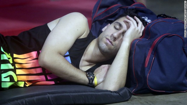 A tourist from Mexico City sleeps in a shelter in Acapulco on September 17.