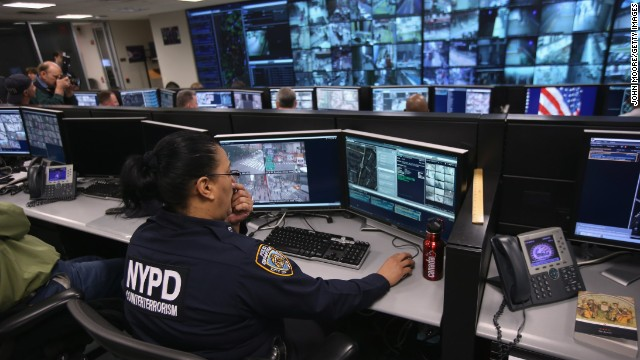 Police monitor security cameras at the Lower Manhattan Security Initiative on April 23, 2013 in New York City.