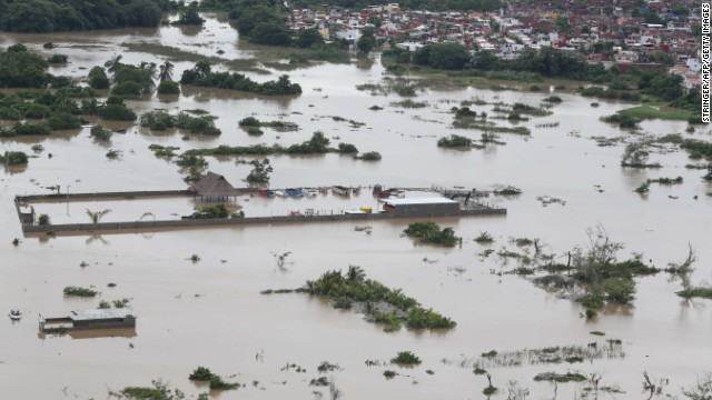 An aerial view shows a flooded area in Acapulco on September 17.