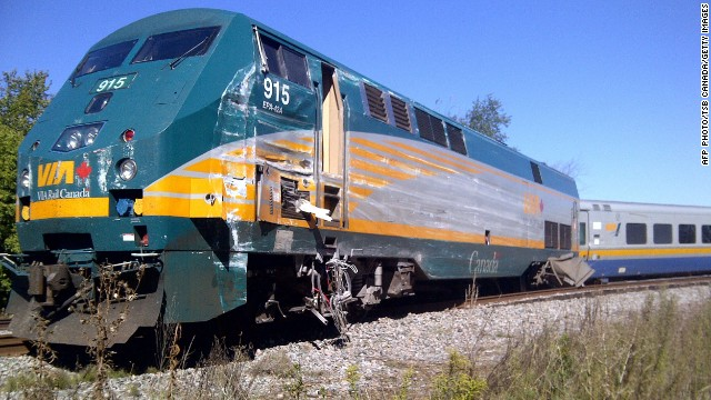 Damage to the front of the VIA Rail passenger train is seen on September 18, in this photo released by the Transportation Safety Board of Canada.
