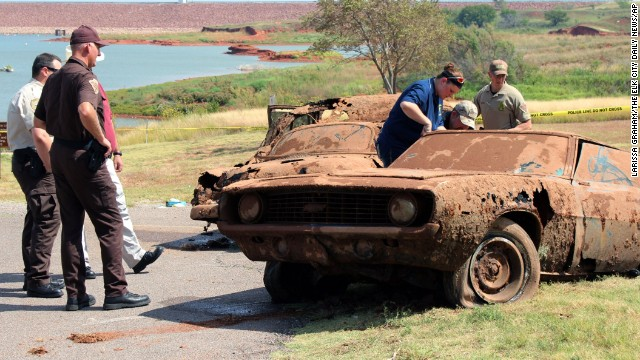 Sheriff's deputies found two cars submerged in Oklahoma's Foss Lake in September 2013, and DNA tests recently confirmed that the human remains inside those cars matched the descriptions of six people who went missing in 1969 and 1970. The state Medical Examiner's Office said the victims died from drowning and their deaths were accidental.