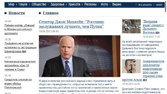 McCain publishes opinion piece in Pravda – but not the one he wanted