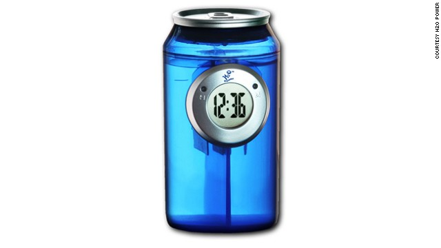 It really is that simple. Just add water and this can-shaped clock will use the latest in 'long life H2O technology' to keep it ticking.
