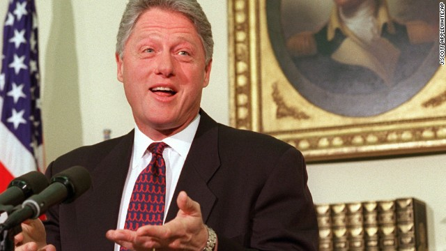 President Clinton speaks about the federal budget impasse from the Oval Office on November 16, 1995. The first part of the budget shutdown ended on November 19 when a temporary spending bill was enacted. But Congress failed to come to an agreement on the federal budget, leading to a second shutdown starting December 16.