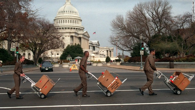 UPS workers deliver letters to members of Congress on November 28, 1995. The letters were written and sent by members of the Coalition For Change, a nonpartisan organization devoted to balancing the budget.