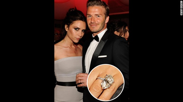 Soccer star David Beckham sealed the deal with wife Victoria Beckham with this massive diamond-encrusted engagement ring.