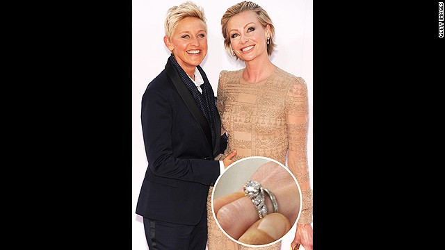 Ellen DeGeneres famously proposed to Portia de Rossi in 2008 with a three-carat Neil Lane diamond ring while they were both tending to a pet goldfish.<!-- --> </br>